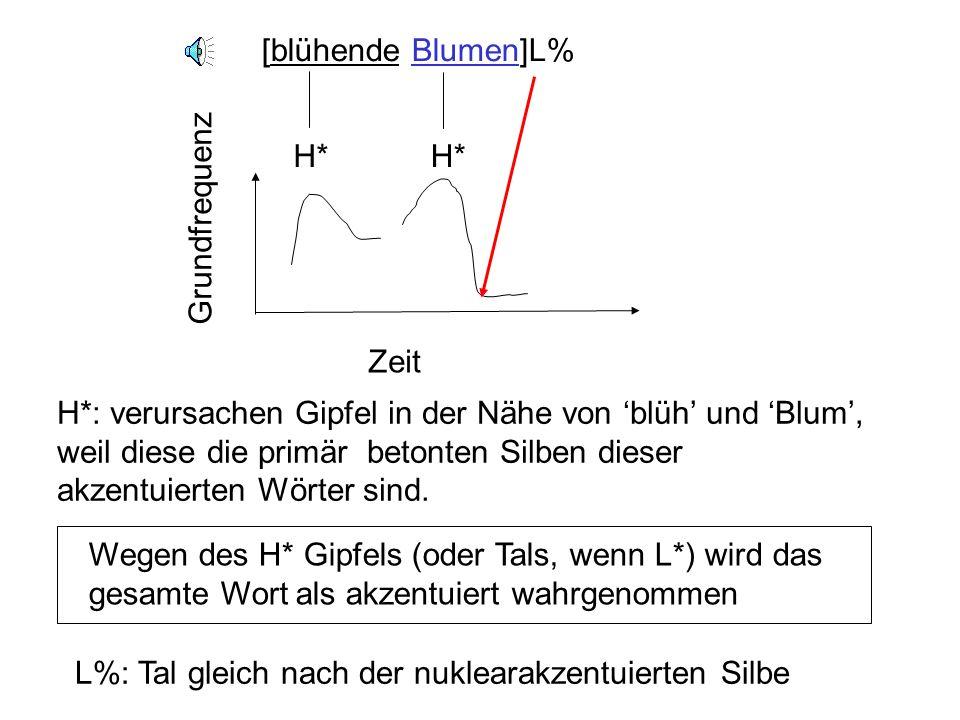 [blühende Blumen]L% L%: Tal gleich nach der nuklearakzentuierten Silbe. H* H* Grundfrequenz. Zeit.